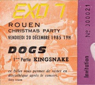 """20 décembre 1985 Kingsnakes, Les Dogs à Petit Quevilly """"Exo 7"""""""
