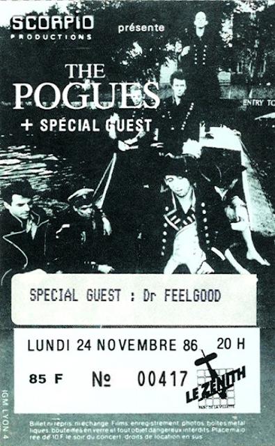 """24 novembre 1986 Dr Feelgood, The Pogues à Paris """"le Zenith"""""""