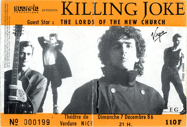 "7 décembre 1986 Lords Of The New Church, Killing Joke à Nice ""Theatre de Verdure"""