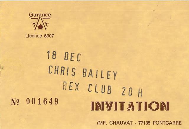 """18 décembre 1986 Chris Bailey à Paris """"Rex Club"""""""