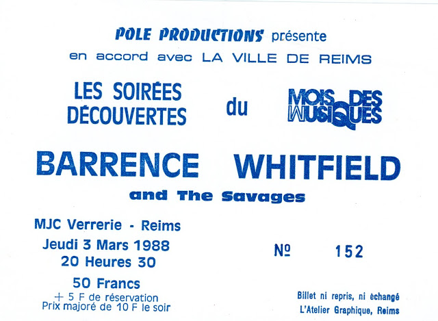 "3 mars 1988 Barrence Whitfield and the Savages à Reims ""MJC Verrerie"""