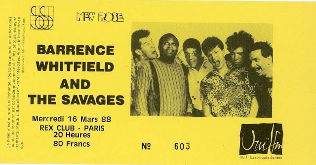 "16 mars 1988 Barrence Whitfield and The Savages à Paris ""Rex Club"""