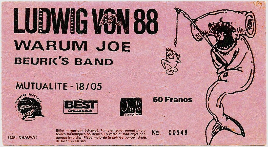 "18 mai 1988 Beurk's Band, Warum Joe, Ludwig Von 88 à Paris ""Mutualité"""