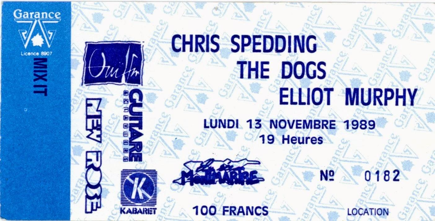 """13 novembre 1989 Chris Spedding, Les Dogs, Elliot Murphy à Paris """"Elysée Montmartre"""""""