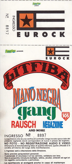 """4 avril 1991 Negazione, Rausch, Gang, Mano Negra, Litfiba à Milan """"L'Arena"""""""