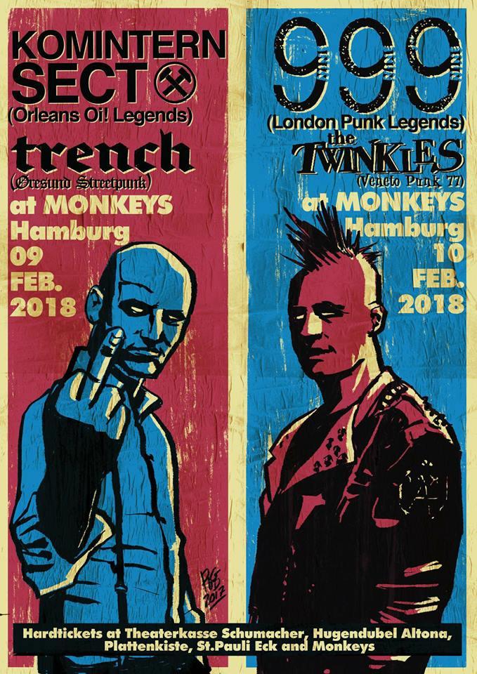 "9 fevrier 2018 Trench, Komintern Sect à Hambourg ""At Monkeys"""