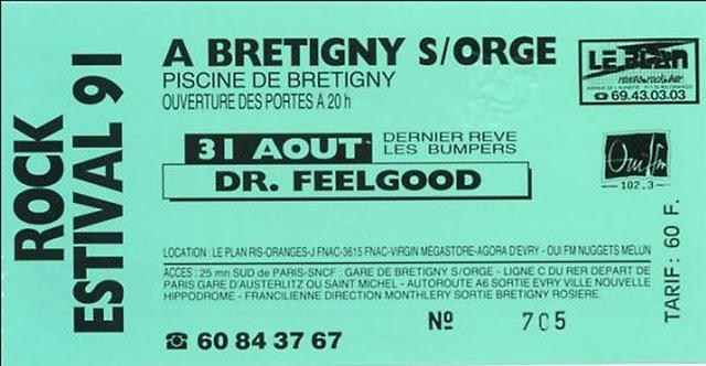 """31 aout 1991 Dernier Reve, les Bumpers, Dr Feelgood à Bretigny Sur Orge """"Piscine de Bretigny"""""""
