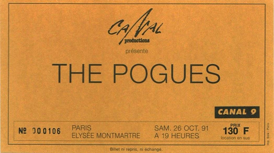 """26 octobre 1991 The Pogues à Paris """"Elysée Montmartre"""""""