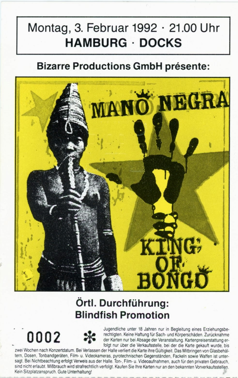 "3 février 1992 Mano Negra à Hambourg ""Docks"""