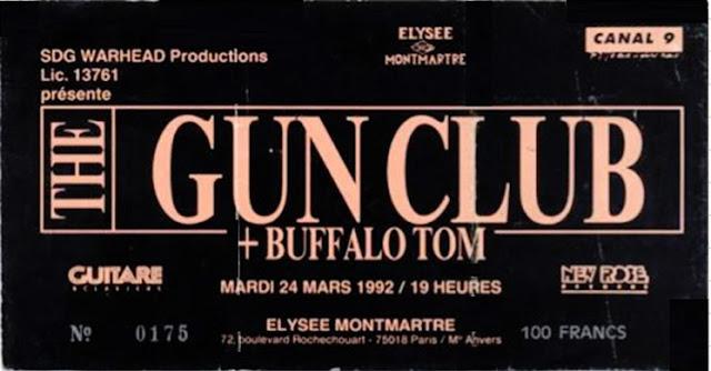 "24 mars 1992 Buffalo Tom, Gun Club à Paris ""Elysée Montmartre"""