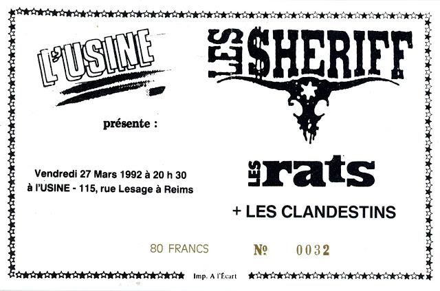 """27 mars 1992 Les Clandestins, Les Rats, les Sheriff à Reims """"L'Usine"""""""
