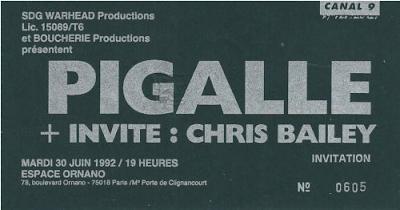 """30 juin 1992 Chris Bailey, Pigalle à Paris """"Espace Ornano"""""""