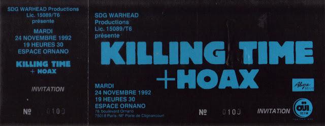 """24 novembre 1992 Hoax, Killing Time à Paris """"Espace Ornano"""""""