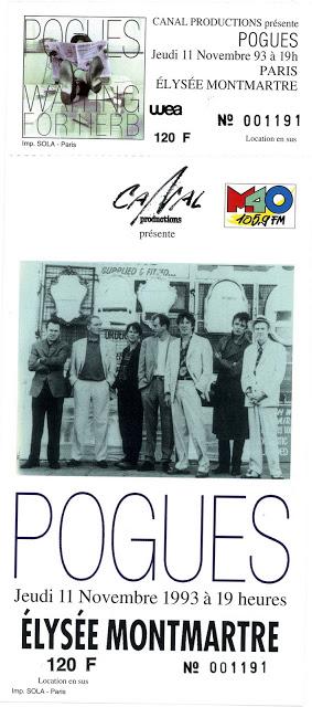 """11 novembre 1993 The Pogues à Paris """"Elysée Montmartre"""""""