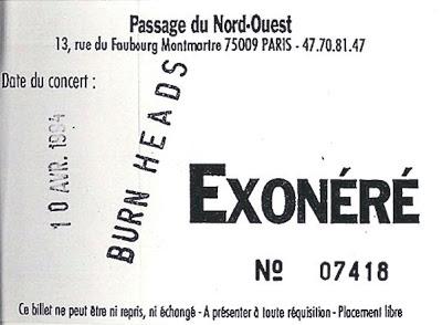 """10 avril 1994 Burning Heads à Paris """"Passage du Nord Ouest"""""""