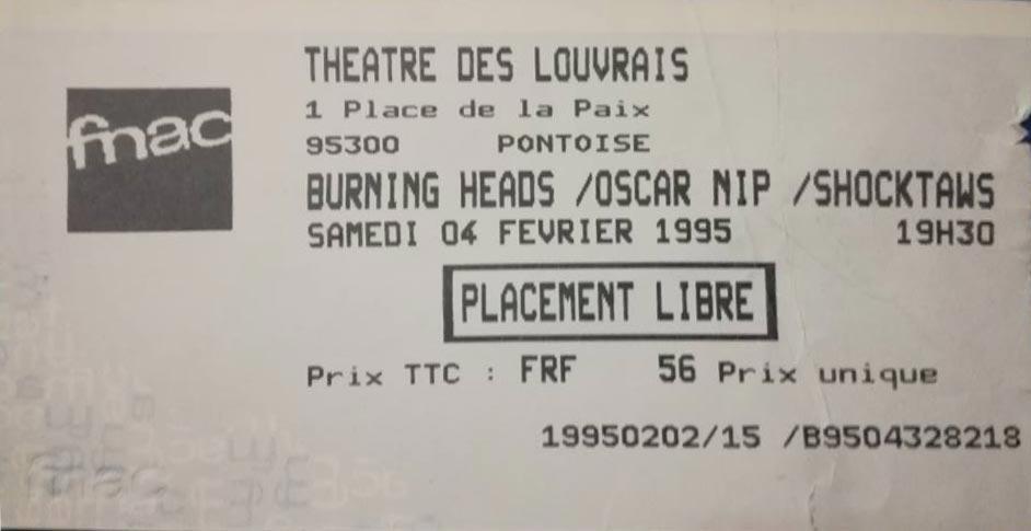 """4 fevrier 1995 Burning Heads, Oscar Nip, Shocktaws à Pontoise """"Theatre de Louvrais"""""""