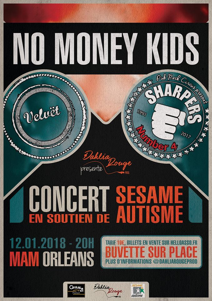"12 janvier 2018 No Money Kids, Sharpers, Velvet à Orléans ""Mam"""