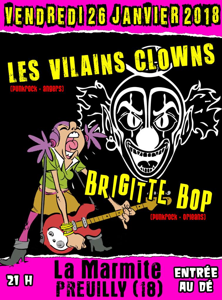"""26 janvier 2018 Brigitte Bop, les Vilains Clowns à Preuilly """"La Marmitte"""""""
