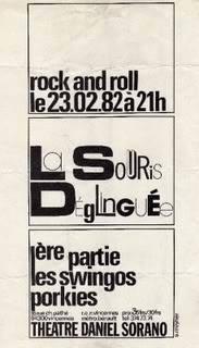 """23 février 1982 Swingo Porkies, la Souris Déglinguée à Vincennes """"Theatre Daniel Sorano"""""""