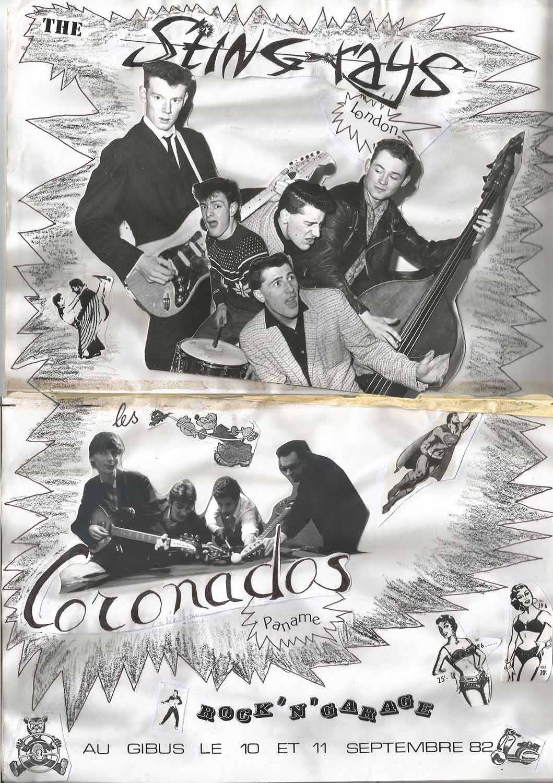 """10 septembre 1982 Sting Rays, Coronados à Paris """"Gibus"""""""