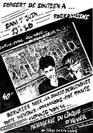 """7 juin 1986 Berurier Noir, La Souris Déglinguée, Porte Manteaux, Coronados, Hot Pants, Ludwig Von 88 à Paris """"Menagerie du Cirque D'hiver"""" ?"""