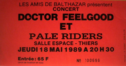 """18 mai 1989 Pale Riders, Doctor Feelgood à Thiers """"Salle Espace"""""""