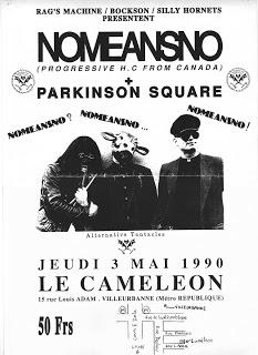 """3 mai 1990 NoMeansNo, Parkinson Square à Villeurbanne """"le Cameleon"""""""