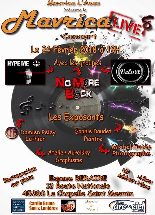 """24 février 2018 Hype Me, Velvet, No More Back à La Chapelle Saint Mesmin """"Espace Beraire"""""""