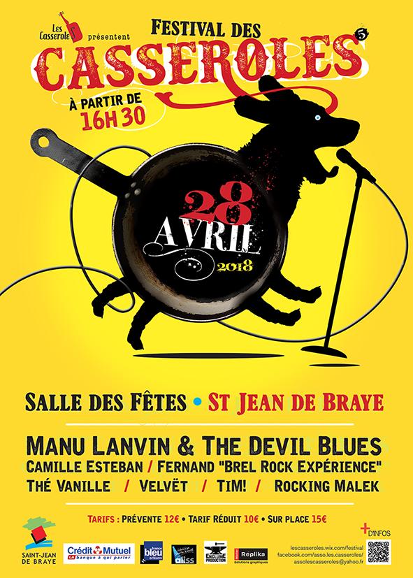 "28 avril 2018 Rockin Malek, Tim, Velvet, The Vanille, Fernand Brel Rock Experience, Camille Esteban, Manu Lanvin & the Devil Blues à Saint Jean de Braye ""Salle des Fêtes"""
