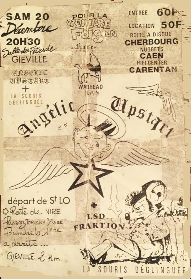 """20 décembre 1986 Angelic upstart, la Souris Deglinguée à Gieville """"Salle des Fetes"""""""