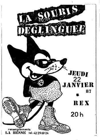 """22 janvier 1987 Cyclope, La Souris Déglinguée à Paris """"le Rex"""""""