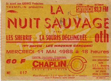 """11 mai 1988 Les Mauvais Garçons, Les Sheriff, La Souris Déglinguée, OTH à Vaulx En Velin """"Centre Culturel Communal Charlie Chaplin"""""""