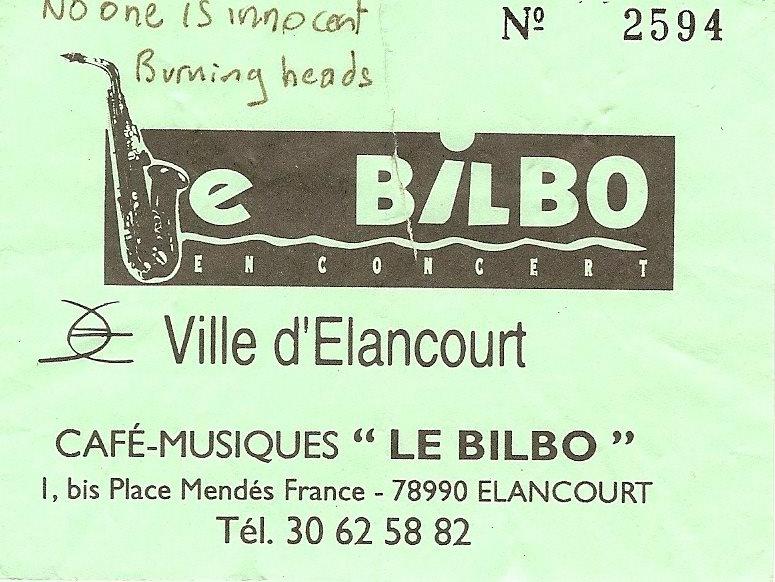 "17 juin 1994 No One Is Innocent, Burning Heads à Elancourt ""le Bilbo"""
