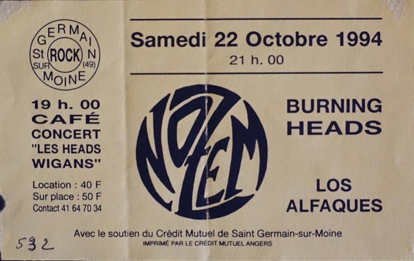 """22 Octobre 1994 Los Alfaques, Burning Heads, Nozem à Saint Germain sur Moine """"Cafe Concert les Heads Wigans"""""""
