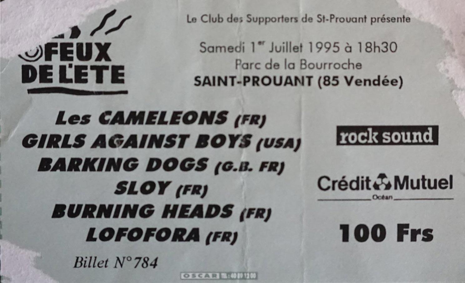 """1er juillet 1995 Les Cameleons, Girls Against Boys, Barking Dogs, Sloy, Burning Heads, Lofofora à Saint Prouant """"Parc de la Bourroche"""""""