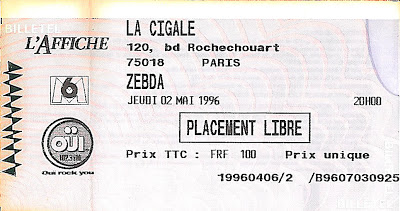 "2 mai 1996 Zebda à Paris 'la Cigale"""