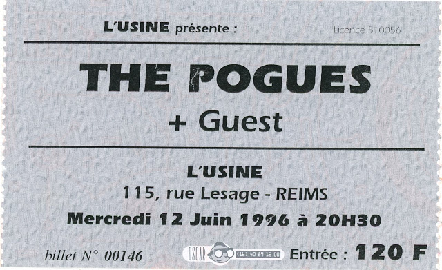 "12 juin 1996 The Pogues à Reims ""L'Usine"""