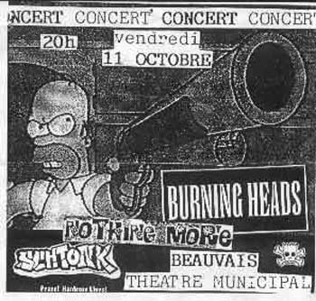 "11 octobre 1996 Schtonk, Nothing More, Burning Heads à Beauvais ""Theatre Municipal"""