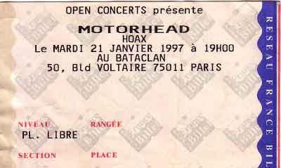 """21 janvier 1997 Hoax, Motorhead à Paris """"le Bataclan"""""""