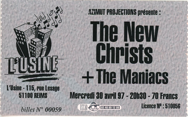 "30 avril 1997 The Maniacs, The New Christs à Reims ""L'Usine"""
