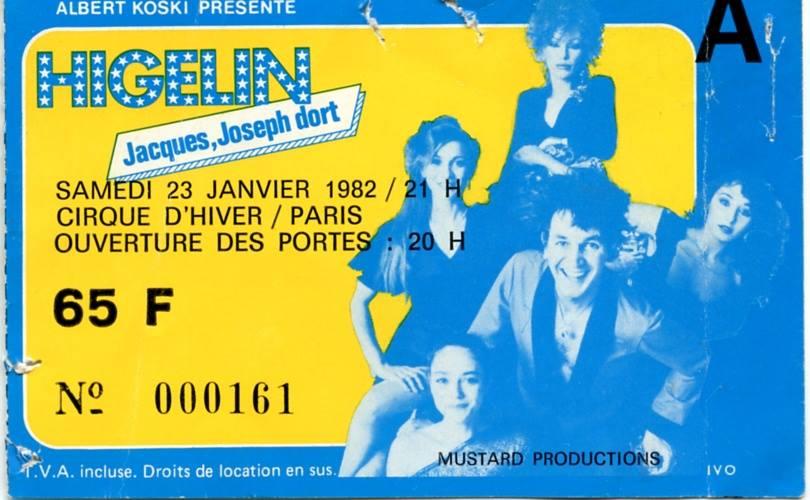 """23 janvier 1982 Jacques Higelin à Paris """"Cirque d'Hiver"""""""