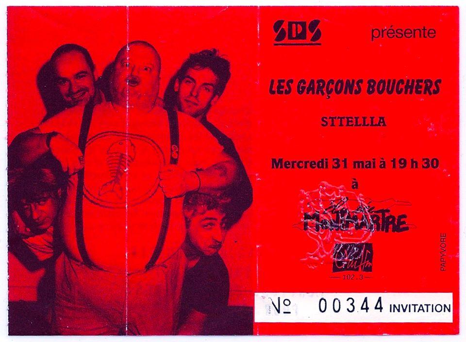 """31 mai 1989 Sttella, les Garcons Bouchers à Paris """"Elysee Montmartre"""""""