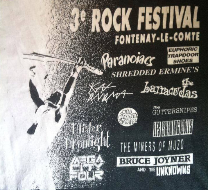 1990 Bruce Joyner & The Unknowns,  Mega City 4, Miners Of Muzo, Real Cool Killers, Shaking Dolls, Mad Monster Party, Barracudas, Kat Onoma, Shredded Ermines, Mister Moonlight, Euphoric Trapdoor Shoes, Guttersnipes à Fontenay le Comte