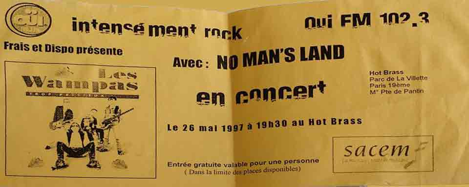 """26 mai 1997 les Wampas, No Man's Land à Paris """"Hot Brass"""""""
