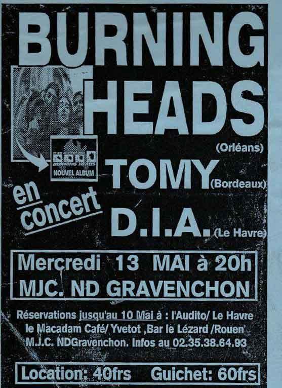 """13 mai 1998 DIA, Tomy, Burning Heads à Notre Dame de Gravenchon """"MJC"""""""