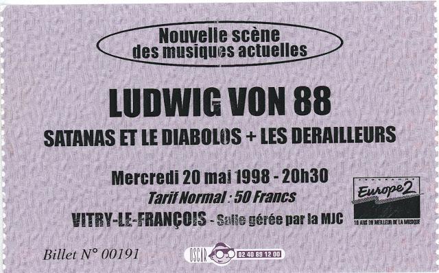 """20 mai 1998 Les Derailleurs, Satanas et le Diabolos, Ludwig Von 88 à Vitry le Francois """"MJC"""""""