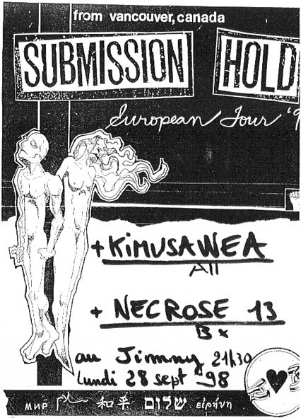 "28 septembre 1998 Submission Hold, Kimusawea, Necrose 13 à Bordeaux ""le Jimmy"""