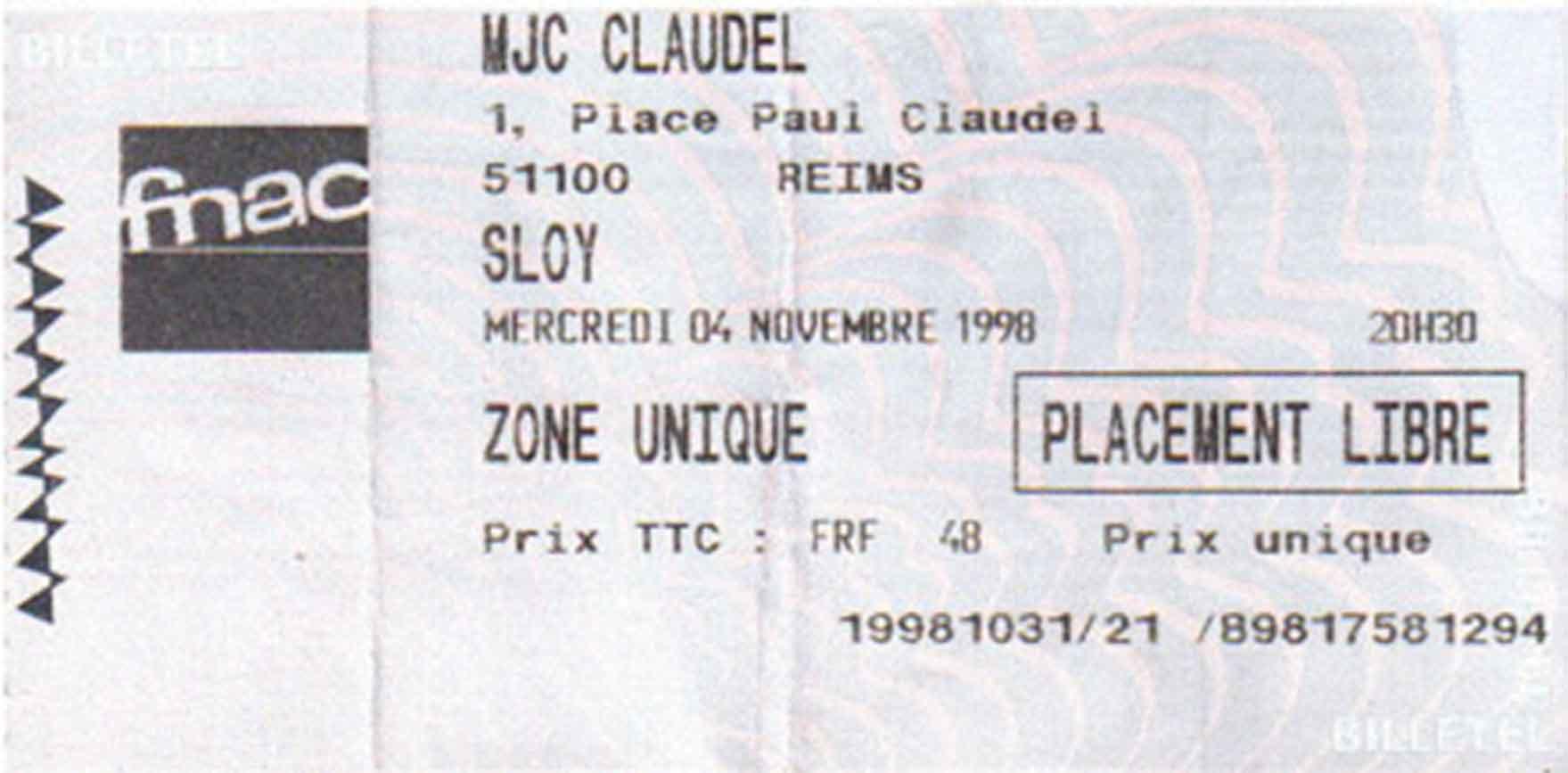 """4 novembre 1998 Sloy à Reims """"MJC Claudel"""""""