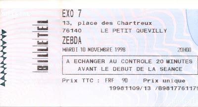 "10 novembre 1998 Zebda à Petit Quevilly ""Exo 7"""