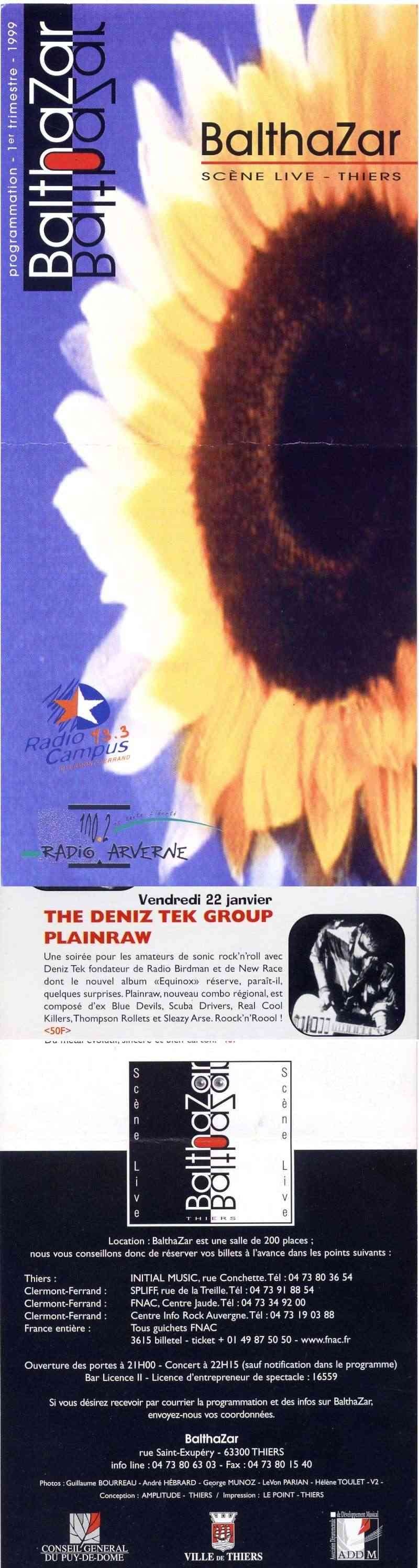 "22 janvier 1999 Deniz Tek Group, Plainraw à Thiers ""Balthazar"""
